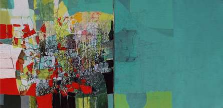 Abstract Mixed-media Art Painting title 'Untitled 3' by artist Yogesh Murkute