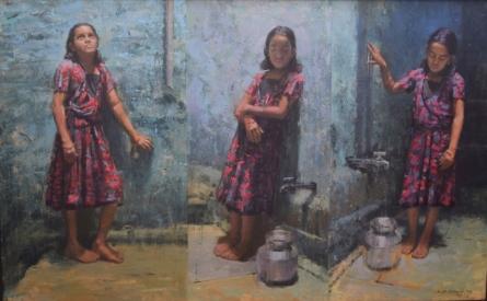 Figurative Acrylic Art Painting title Innocence by artist Suresh Jangid