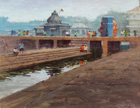Cityscape Acrylic Art Painting title 'Landscape 1' by artist Suresh Jangid