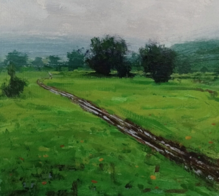 Nature Acrylic Art Painting title 'Landscape 4' by artist Suresh Jangid