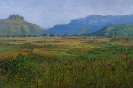 Nature Acrylic Art Painting title 'Landscape 6' by artist Suresh Jangid