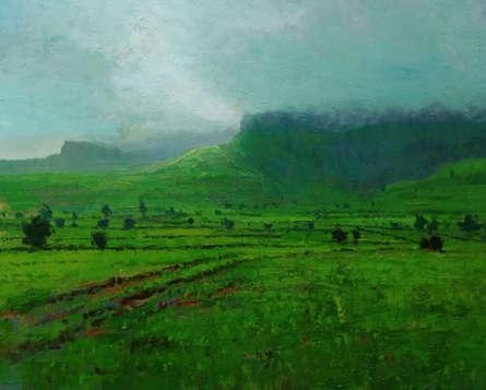 Nature Acrylic Art Painting title 'Landscape 7' by artist Suresh Jangid