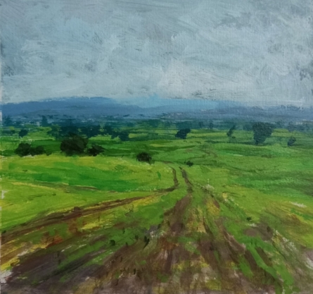 Nature Acrylic Art Painting title 'Landscape 9' by artist Suresh Jangid