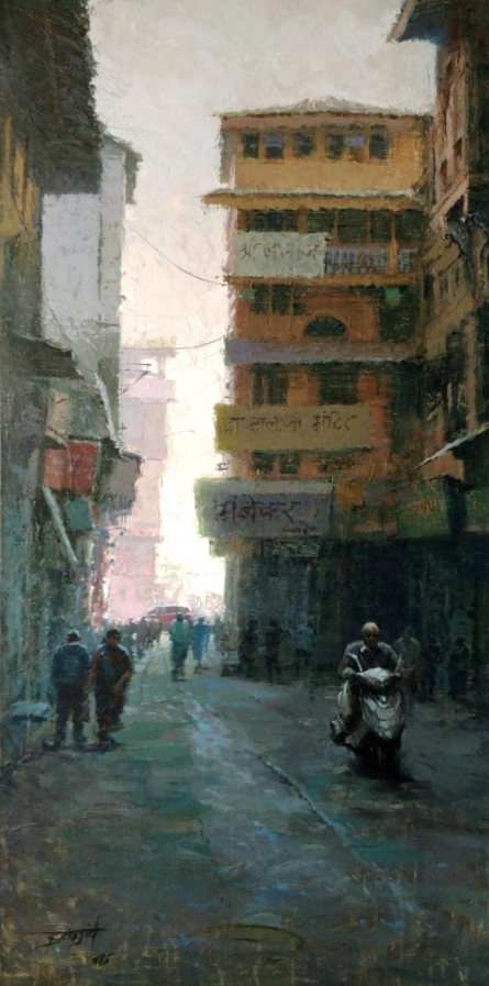 Cityscape Acrylic Art Painting title Morning Glory by artist Suresh Jangid