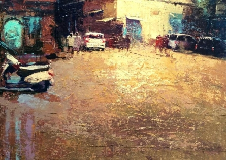 Cityscape Acrylic Art Painting title 'Reflection 2' by artist Suresh Jangid