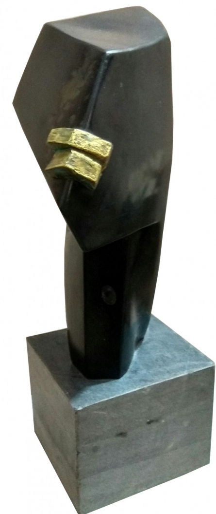 Black Marble Sculpture titled 'Untitled 10' by artist Pradeep Jogdand