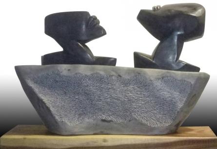 Pradeep Jogdand | Untitled 1 Sculpture by artist Pradeep Jogdand on Black Marble, Wood | ArtZolo.com