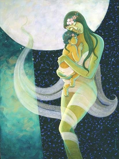 Figurative Acrylic Art Painting title 'Mother And Child' by artist Pallavi Deodhar