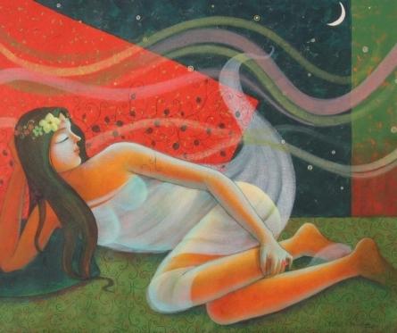 Figurative Acrylic Art Painting title 'Rhythm Of Night 11' by artist Pallavi Deodhar