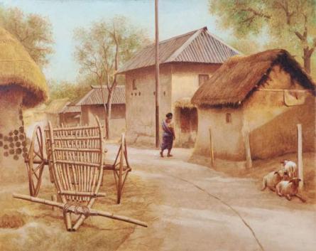 Scenic Oil Art Painting title Village Afternoon by artist Arabinda Mukherjee
