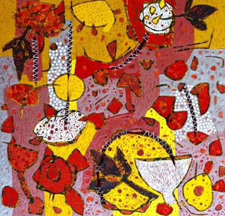 Abstract Mixed-media Art Painting title Untitled C by artist Pankaj Kumar Singh