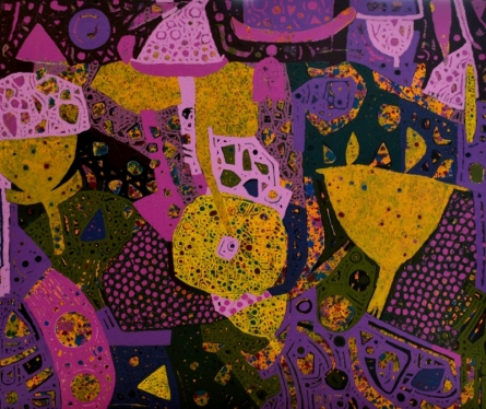 Abstract Mixed-media Art Painting title 'Untitled H' by artist Pankaj Kumar Singh