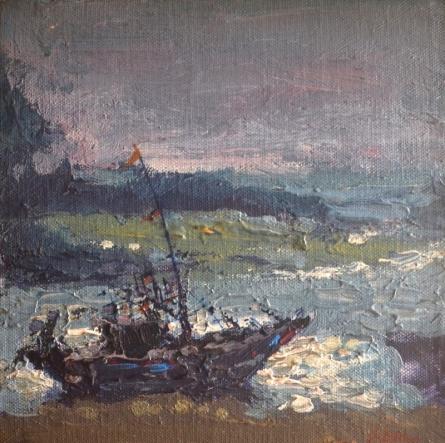 Seascape Acrylic Art Painting title 'Boat 2' by artist Shubham Kesur