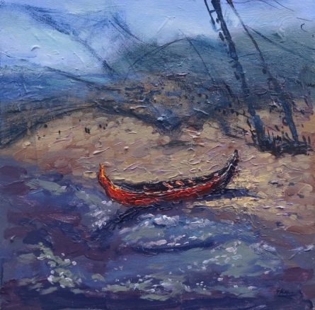 Seascape Acrylic Art Painting title 'Boat 3' by artist Shubham Kesur