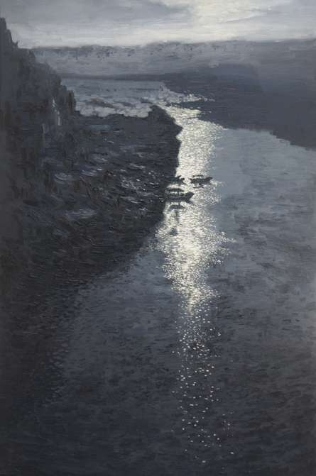 Seascape Oil Art Painting title 'Floating Pearls' by artist Shubham Kesur
