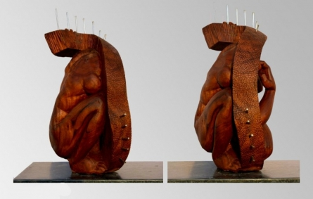 Wood, Metal Sculpture titled 'Hidden In My Life 7' by artist Dharam Netam