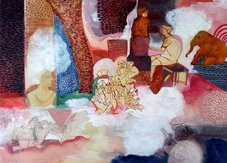 Figurative Mixed-media Art Painting title Untitled 1 by artist Krishnal Fulwala