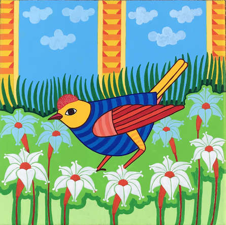 Animals Acrylic Art Painting title 'Bird 2' by artist Thota Laxminarayana