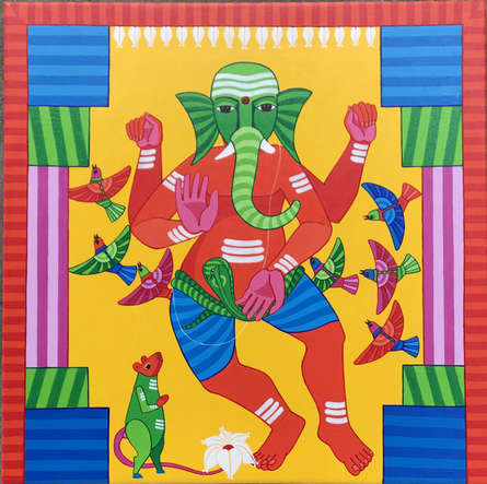 Thota Laxminarayana Paintings | Acrylic Painting - Ganesha by artist Thota Laxminarayana | ArtZolo.com