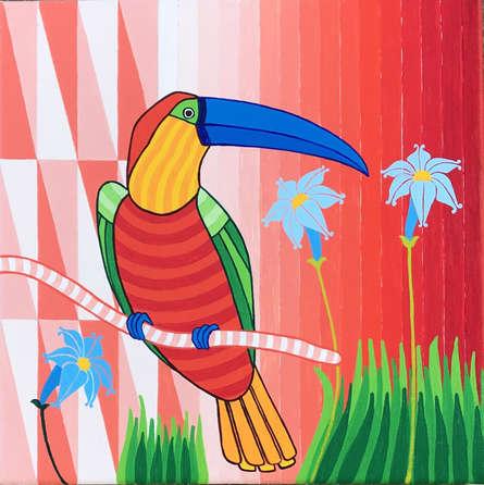 Animals Acrylic Art Painting title 'Parrot 2' by artist Thota Laxminarayana