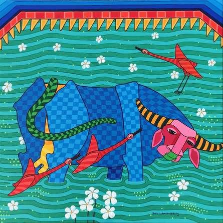 Animals Acrylic Art Painting title 'Untitled 5' by artist Thota Laxminarayana