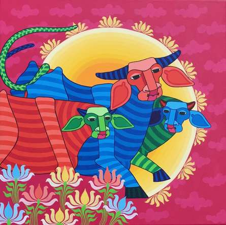 Animals Acrylic Art Painting title 'Untitled 6' by artist Thota Laxminarayana