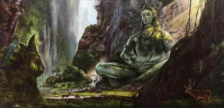 Religious Acrylic Art Painting title 'Lord Shiva' by artist Prasad Karambat