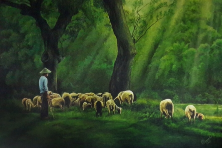 Figurative Acrylic Art Painting title 'Shepherd' by artist Prasad Karambat