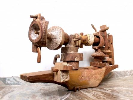 Chander Parkash | Swing Machine Sculpture by artist Chander Parkash on Wood | ArtZolo.com