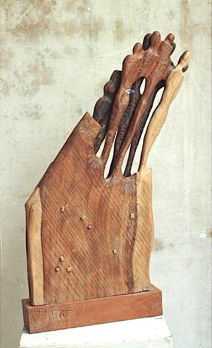 Chander Parkash | The Group Sculpture by artist Chander Parkash on Wood | ArtZolo.com