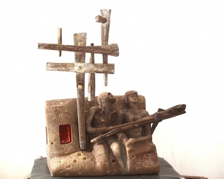 Wood Sculpture titled 'The Musicians' by artist Chander Parkash