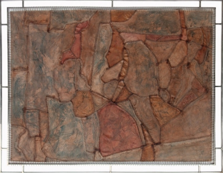 Sudip Hazra | Mixed-media Painting title Uneven Sergical 1 on Leather | Artist Sudip Hazra Gallery | ArtZolo.com