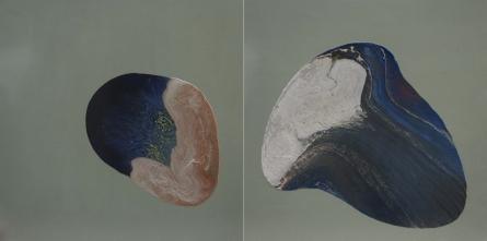 Abstract Enamel Art Painting title 'Blue 2' by artist Pankaj Vishwakarma