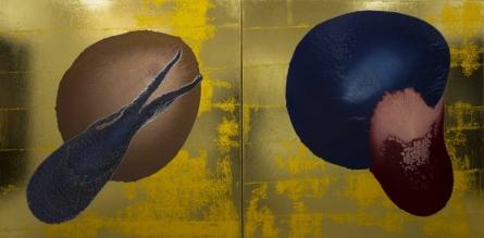 Abstract Enamel Art Painting title 'Golden Space' by artist Pankaj Vishwakarma