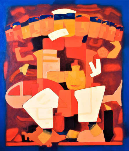 Figurative Acrylic Art Painting title Avatar by artist Dipak Asole