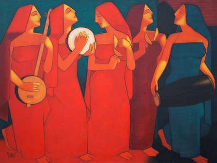 Figurative Acrylic Art Painting title Bhajan by artist Dipak Asole