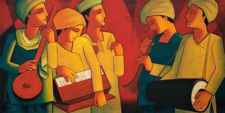 Figurative Acrylic Art Painting title Bhajan 1 by artist Dipak Asole
