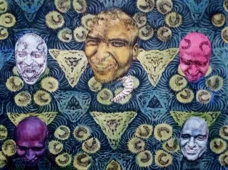 contemporary Mixed-media Art Painting title 'Inspiration 5' by artist Kumara Swamy Pashikanti