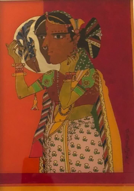 Laxma Goud | Acrylic Painting title Lady looking in a mirror on Glass | Artist Laxma Goud Gallery | ArtZolo.com
