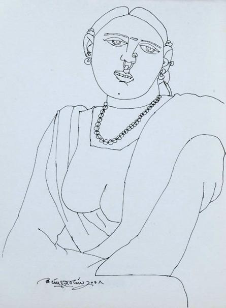 Figurative Pen Art Drawing title Untitled 23 by artist Laxma Goud