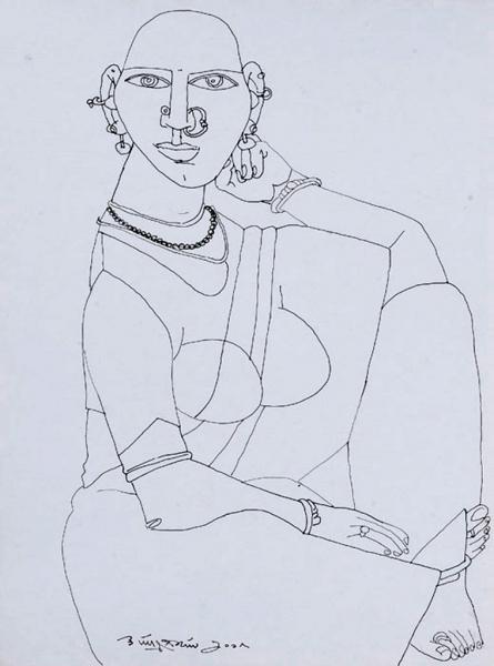 Figurative Pen Art Drawing title Untitled 24 by artist Laxma Goud