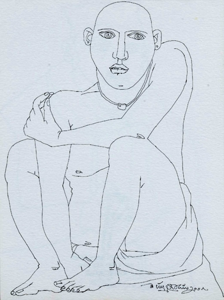 Figurative Pen Art Drawing title Untitled 25 by artist Laxma Goud