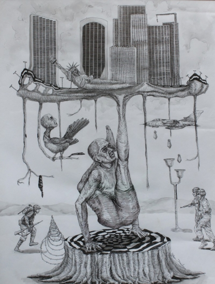 Fantasy Pen Art Drawing title 'Winner' by artist Ankur Singla