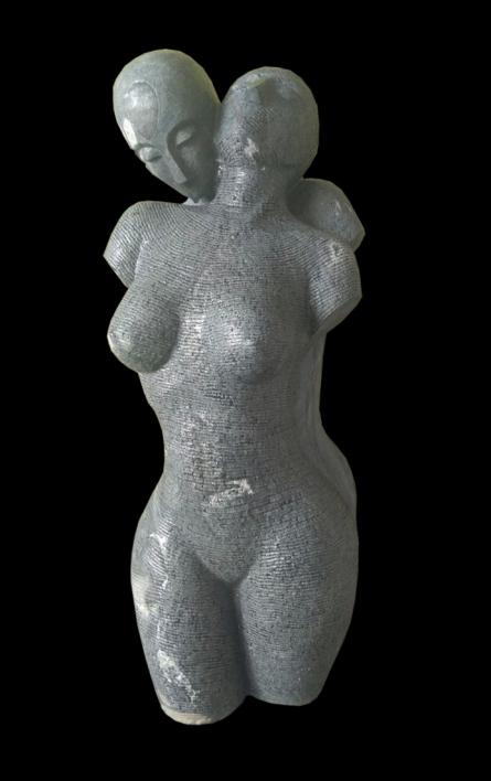 Ashwin Kadam | Lyarical Inscription 1 Sculpture by artist Ashwin Kadam on Black Marble | ArtZolo.com