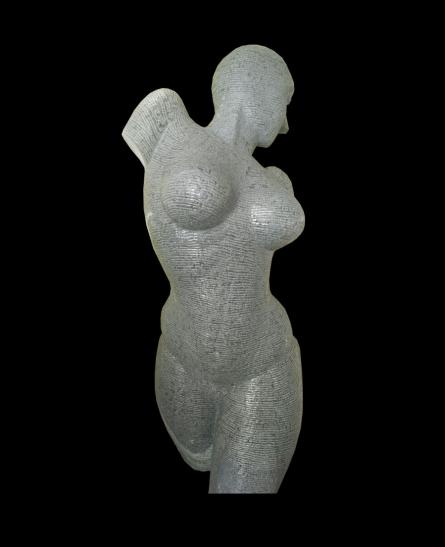 Black Marble Sculpture titled 'Lyarical Inscription 2' by artist Ashwin Kadam