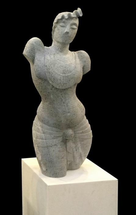 Black Marble Sculpture titled 'Lyarical Inscription 3' by artist Ashwin Kadam