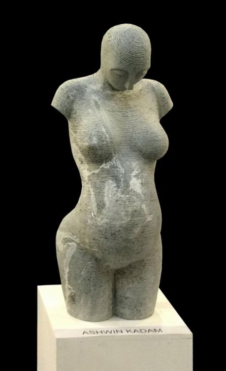 Black Marble Sculpture titled 'Lyarical Inscription 4' by artist Ashwin Kadam