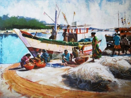 Seascape Acrylic Art Painting title 'Alibag Bunder' by artist Jitendra Gaikwad