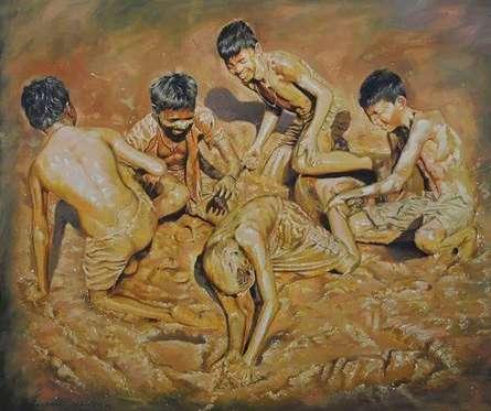 Figurative Oil Art Painting title Celebration Born To Live 1 by artist Jitendra Gaikwad