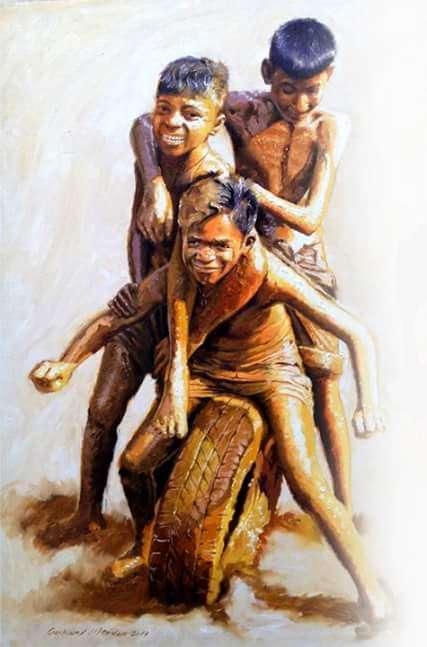 Jitendra Gaikwad | Oil Painting title Celebration Born To Live 3 on Canvas | Artist Jitendra Gaikwad Gallery | ArtZolo.com